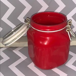 Red and White Counter Mason Jar